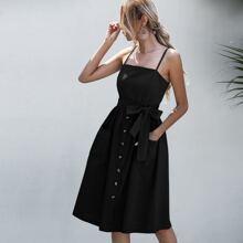 Cami Kleid mit Knopfen vorn und Guertel