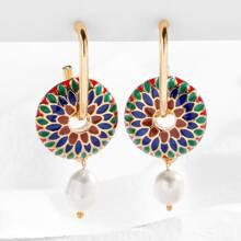 Faux Pearl Decor Flower Pattern Drop Earrings
