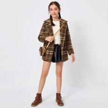 Mantel mit Reverskragen, Schlitz hinten und Karo Muster