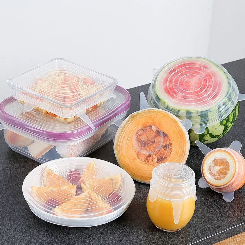 6 Sets Of Silicone Fresh Cover Food Wrap Film Elastic Stretch Seal Transparent Cover