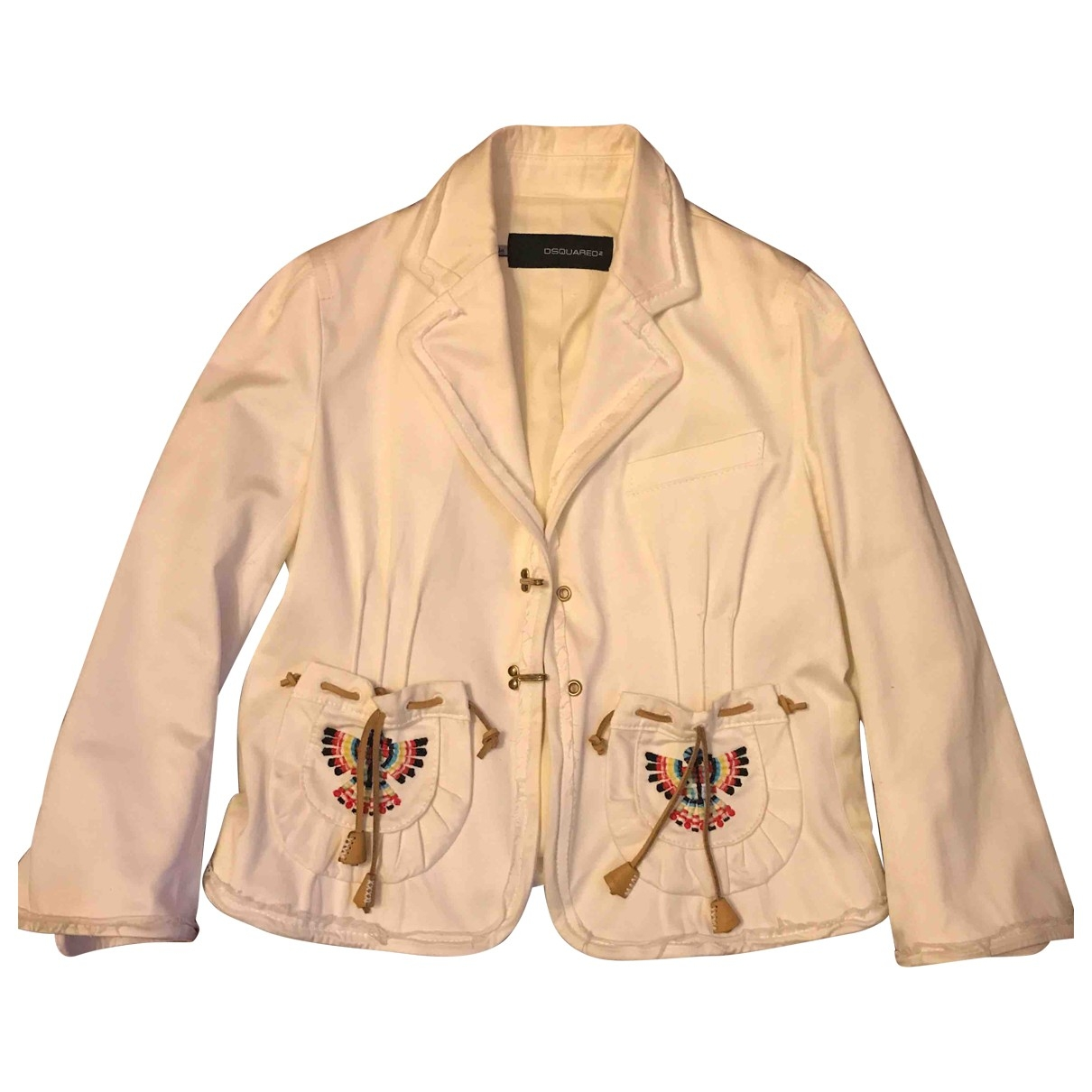 Dsquared2 \N White Cotton jacket for Women 44 IT