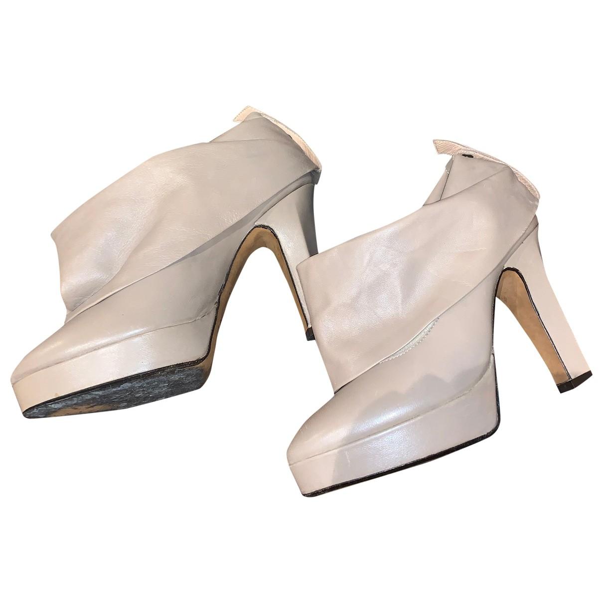 Michel Perry - Boots   pour femme en cuir - gris