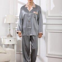 Satin Schlafanzug Set mit Geo Muster und Revers