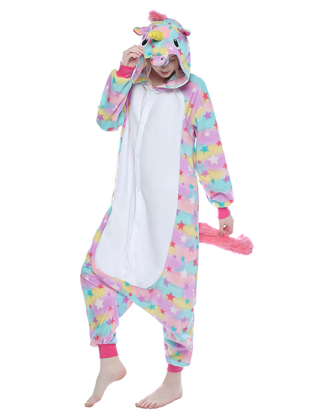 Milanoo Pink Kigurumi Pajama Rainbow Unicorn Adult Unisex Flannel Winter Sleepwear Animal Costume Halloween