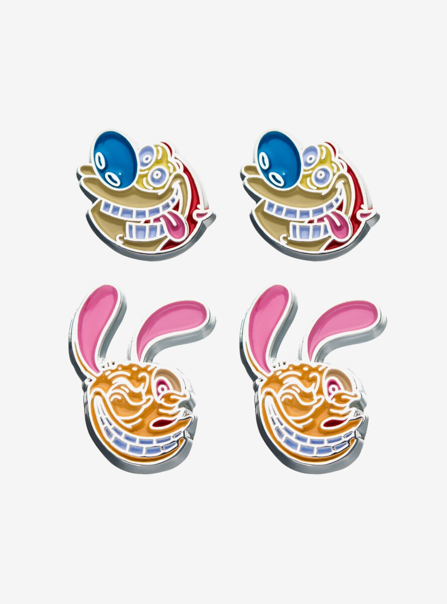Nickelodeon Ren and Stimpy Stud Earrings Set