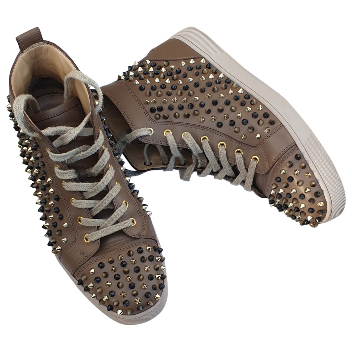 Christian Louboutin Louis Brown Leather Trainers for Men 44 EU