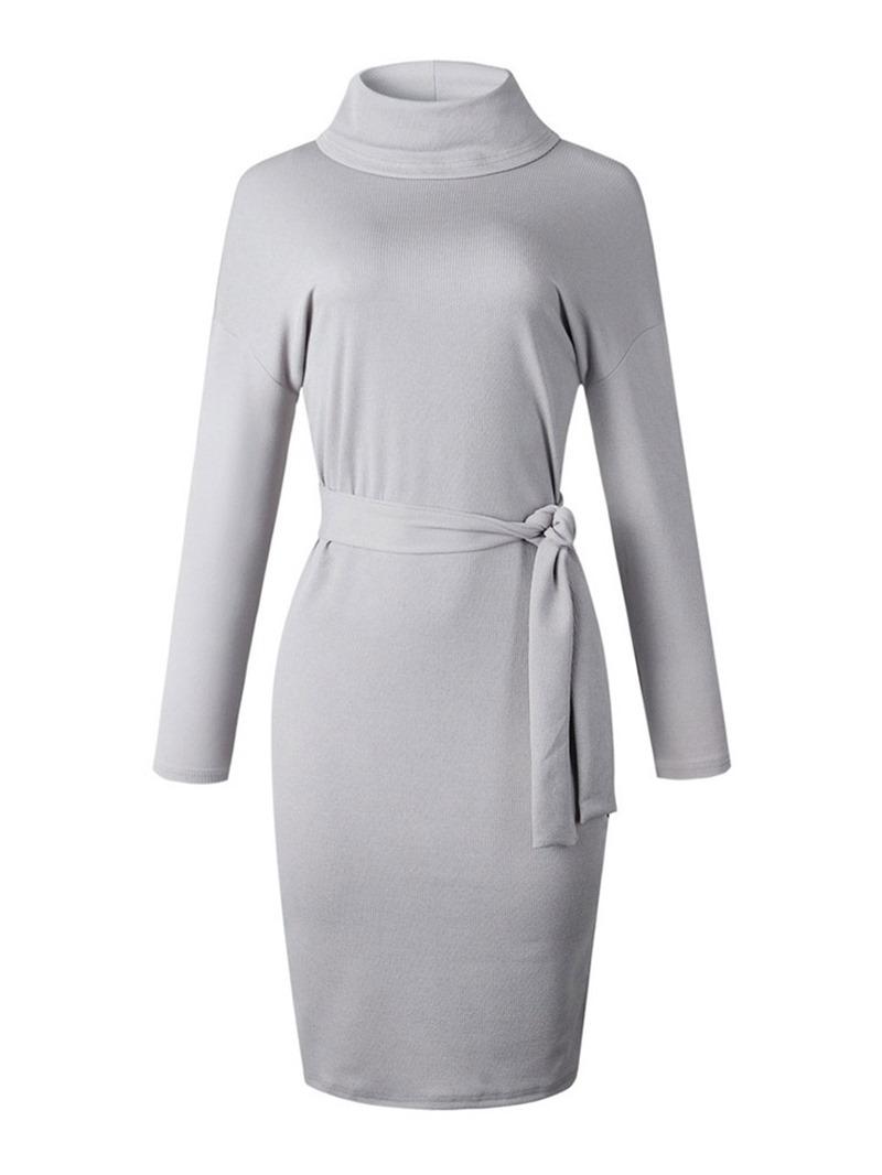 Ericdress Turtleneck Long Sleeve Mid-Calf Casual Mid Waist Dress