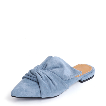 Yoins Blue Point Toe Suede Slippers