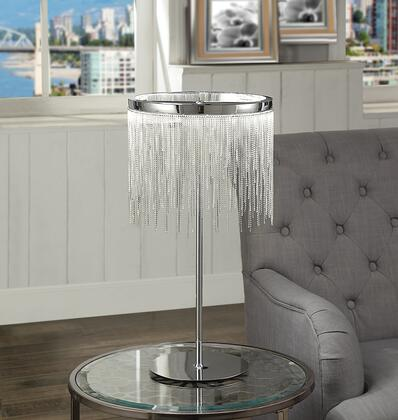 BM194214 Contemporary Metal Table Lamp with Adjustable LED Light and Beaded Drum Shade