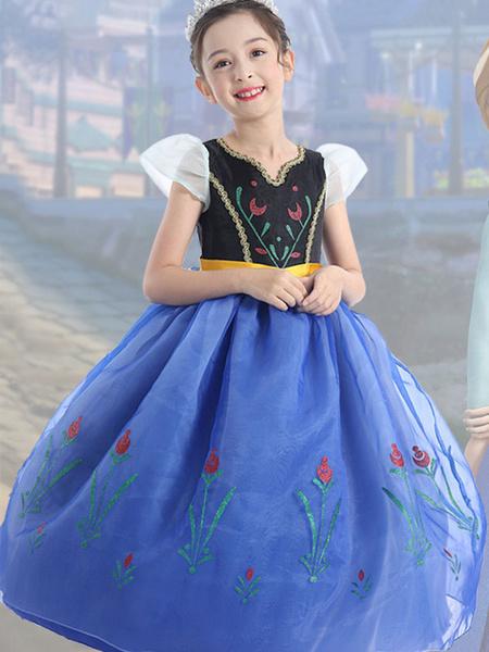 Milanoo Disney Princess Series Ice Romance Anna Cosplay Princess Dress Skirt Halloween Performance Costumes