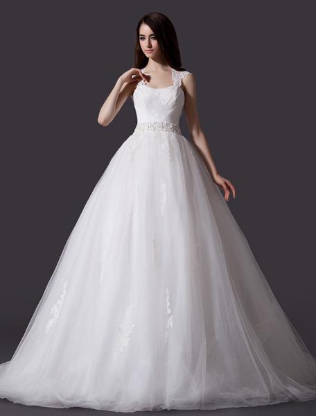 Milanoo Ivory A-line Keyhole Neck Sequin Chapel Train Brides Wedding Dress
