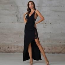 Double Crazy Kleid mit Spitzeneinsatz und asymmetrischem Saum