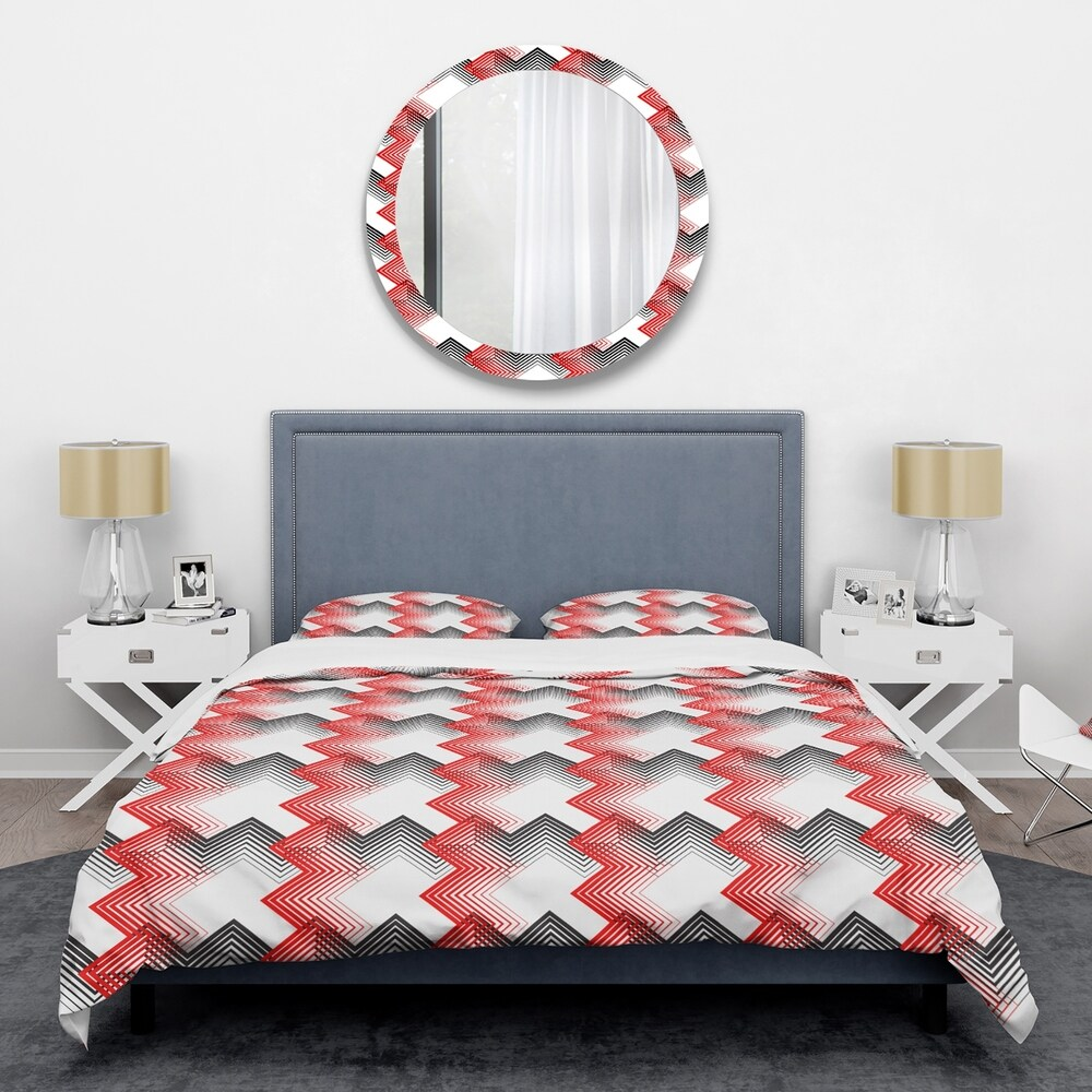 Designart 'Retro Geometrical Abstract Minimal Pattern VIII' Mid-Century Duvet Cover Set (Twin Cover + 1 sham (comforter not included))