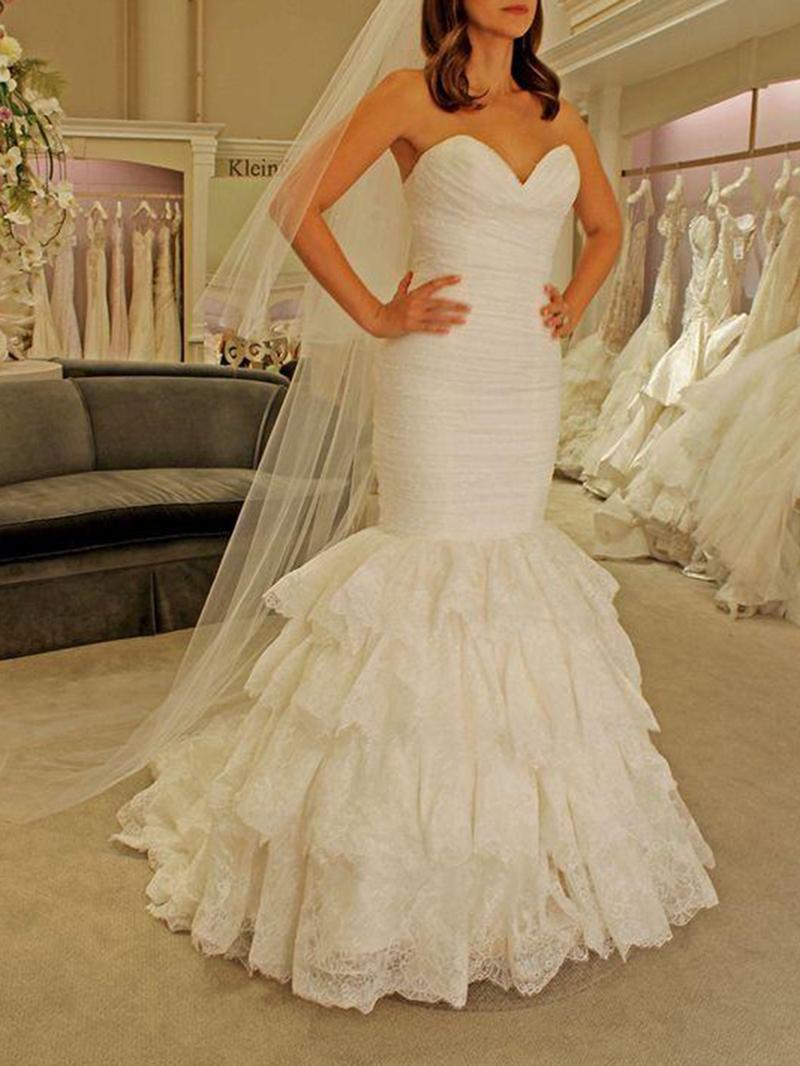 Ericdress Trumpet Tiered Lace Wedding Dress