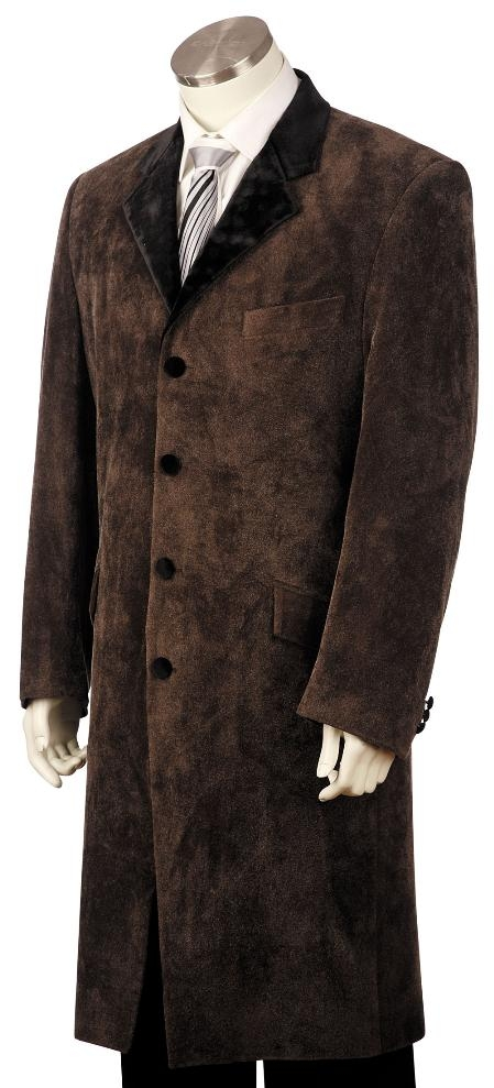 4 Button Stylish Taupe Velvet Suit Mens