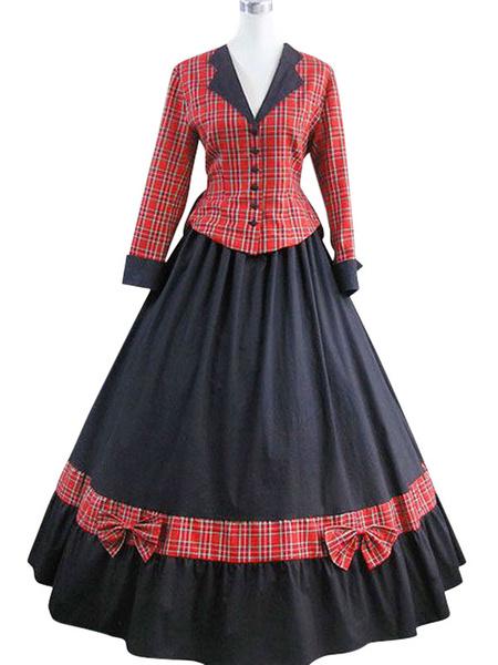 Milanoo Little Women Costumes Ruffles Plaid Women Fake Two Piece Vintage Clothing