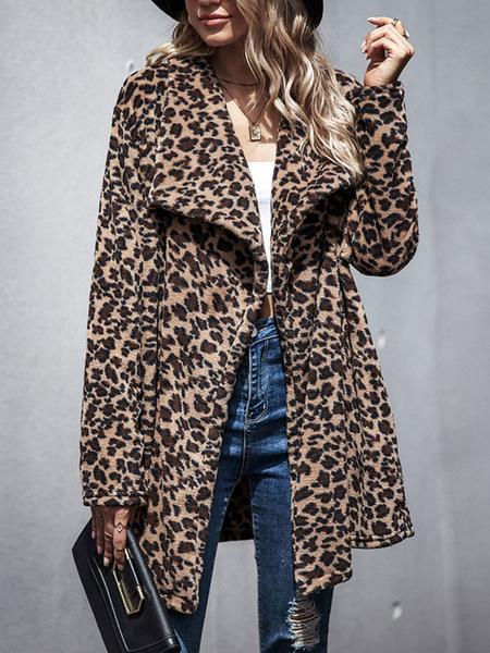 Milanoo Faux Fur Coats Leopard Long Sleeves Leopard Print Women Coat