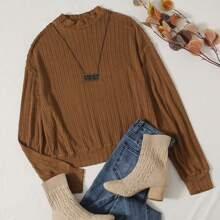 Mock Neck Cable Knit Pullover