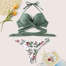 Bikini Set mit Kreuzgurt, Wickel Design, Neckholder und Bluemchen Muster