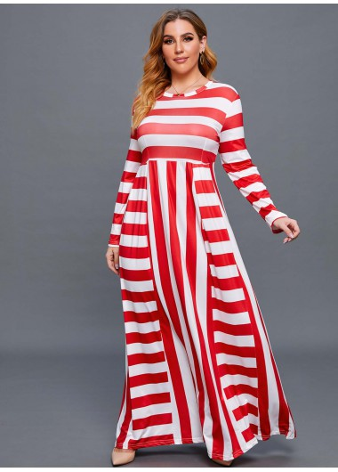 Striped Long Sleeve Plus Size Maxi Dress - L