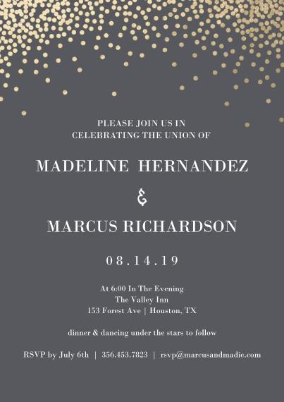 Wedding Invitations 5x7 Cards, Standard Cardstock 85lb, Card & Stationery -Glam Dots - Invitation
