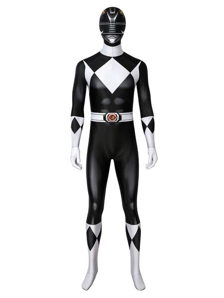Milanoo Saltar al comienzo de la galeria de imagenes Mighty Morphin Power Rangers Black Ranger Zentai Jumpsuit Cosplay