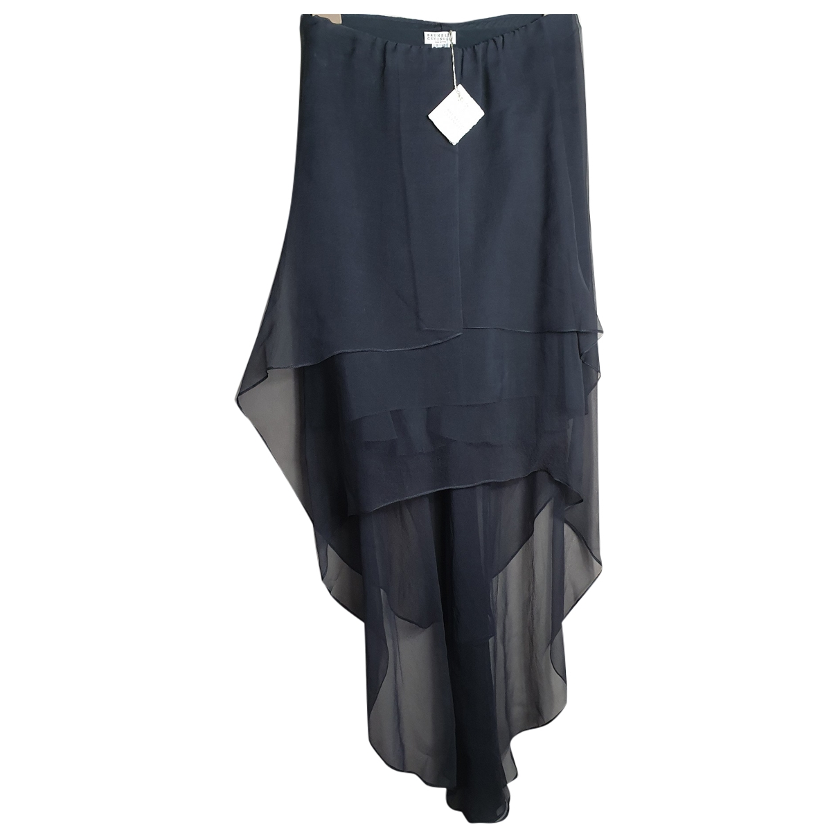 Brunello Cucinelli \N Grey Silk skirt for Women 42 IT