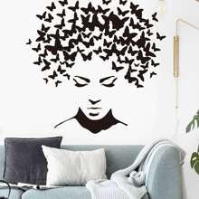 Pegatina mural con estampado de cara con mariposa