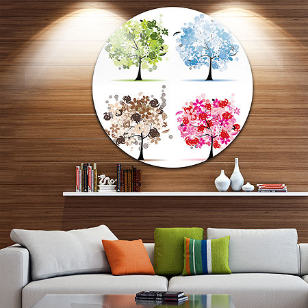 Designart Floral Metal Wall Art, One Size , Green