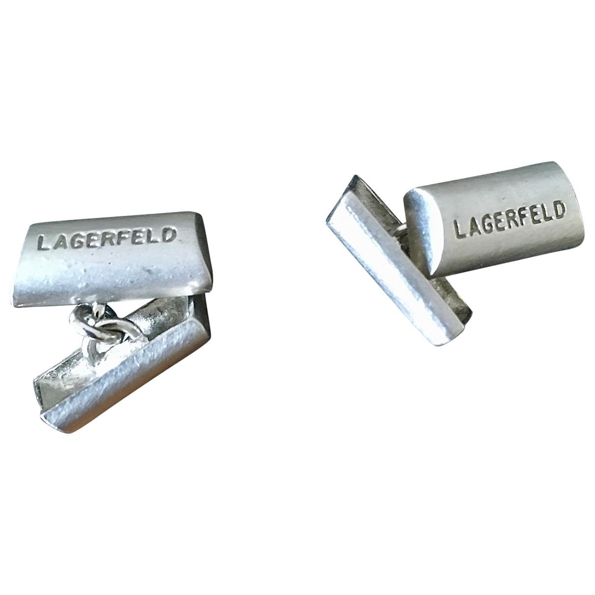 Karl Lagerfeld \N Silver Steel Cufflinks for Men \N