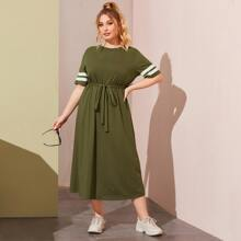 Plus Striped Sleeve Self Belted Dress