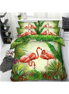 3D Flamingo in the Rainforest Printed 4-Piece Bedding Sets/Duvet Covers