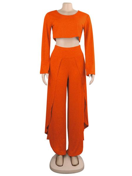 Milanoo Conjuntos de dos piezas Camiseta corta de manga larga gris con pantalon de pierna ancha y abertura alta Traje de mujeres de gran tamaño