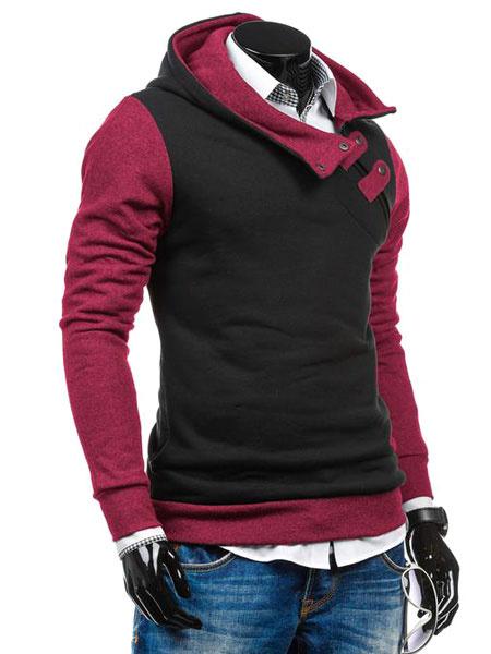 Milanoo Men's Pullover Hoodie Oblique Zipper Buckle Contrast Color Cotton Hoodie