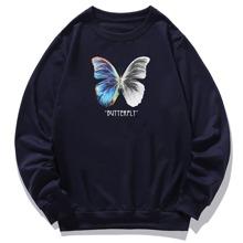 Sudadera con estampado de letra y mariposa
