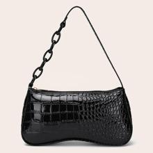 Bolsa baguette con diseño de cocodrilo