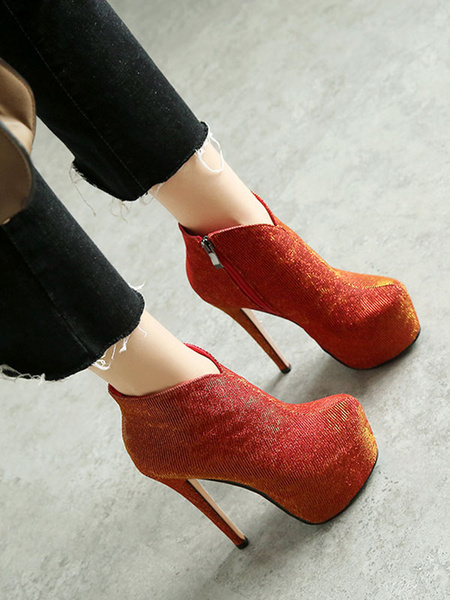 Milanoo Women Ankle Boots Red Sequined Cloth Round Toe Stiletto Heel Platform Booties