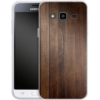 Samsung Galaxy J3 (2016) Silikon Handyhuelle - Dark Wood Floor von caseable Designs