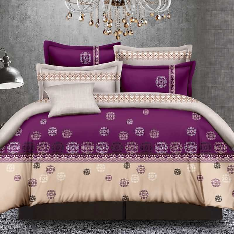 Stylish Purple Polyester 4-Piece Duvet Cover Sets