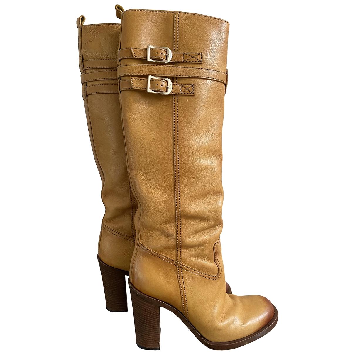 Gucci - Bottes   pour femme en cuir - jaune