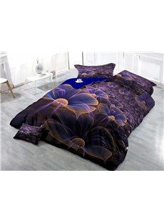 Purple Flower Wear-resistant Breathable High Quality 60s Cotton 4-Piece 3D Bedding Sets