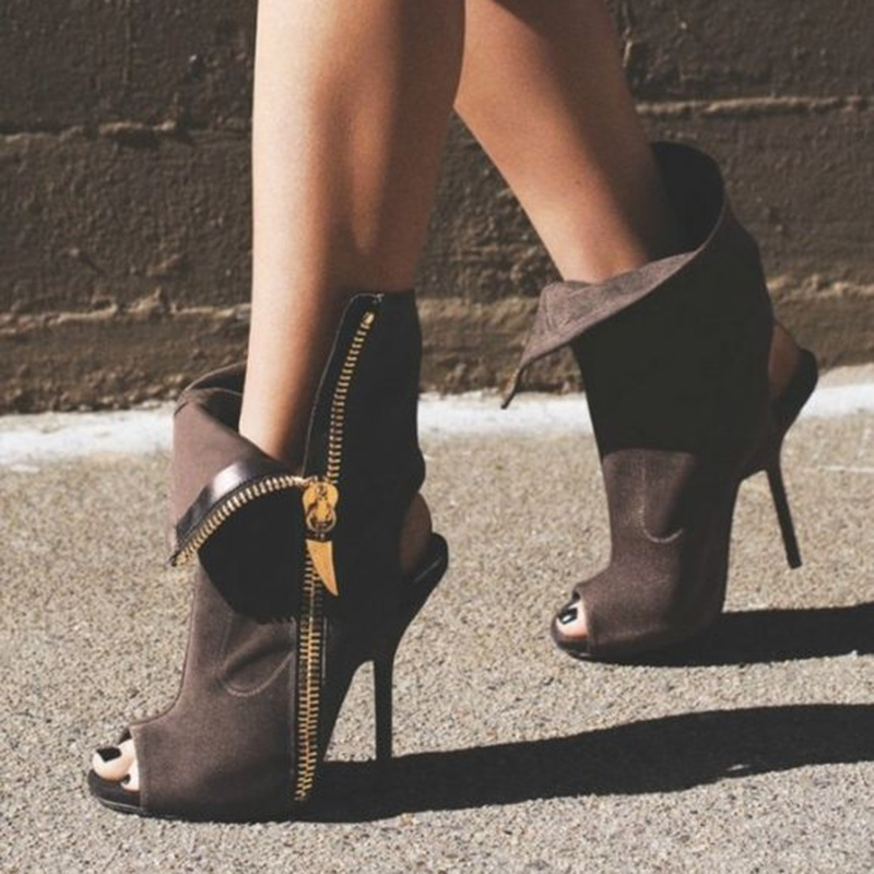 Ericdress Coffee Side Zip Peep Toe High Heel Boots