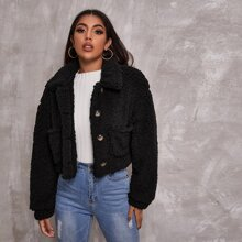 Collared Buttoned Front Pocket Patched Teddy Jacket