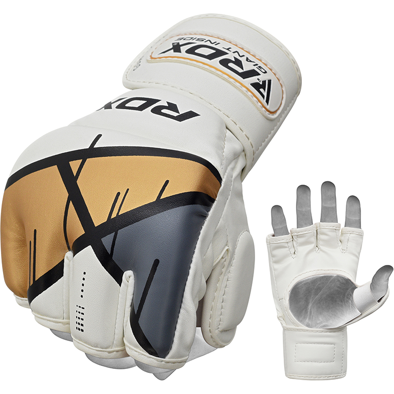 RDX T7 Grappling MMA Gloves Extra Large Golden/White/Grey/Black
