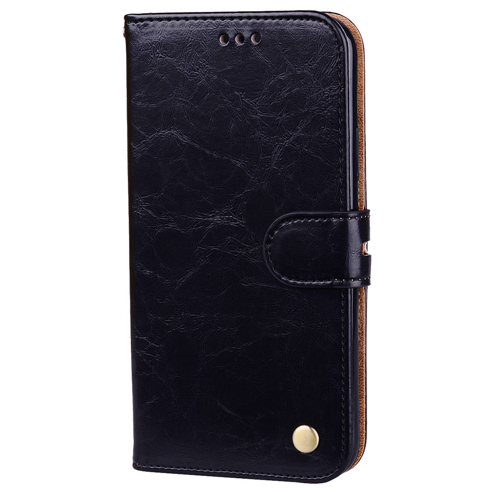 Hat-Prince Protective Leather Phone Case for iPhone XR PC+TPU Phone Case with Kickstand Function - Black