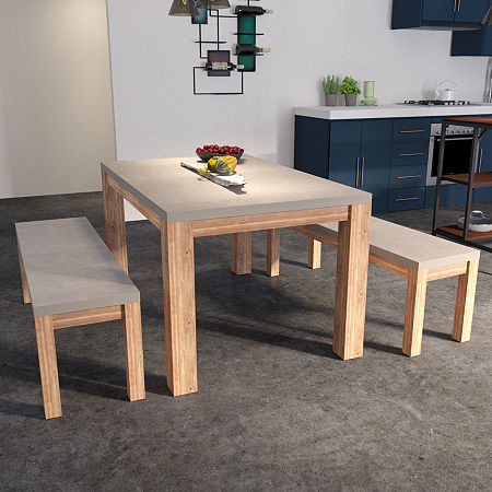 Mosle 4-Piece Cement Dining Set, One Size , White
