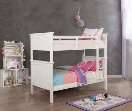 Marci Collection CM-BK630WH-TT-BED 43.75 Twin Over Twin Size Bunk Bed with Top Guard Rail  13 Piece Slats and Attached Ladder in