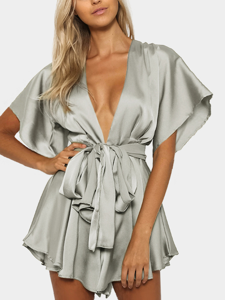 Yoins Silver V-neck Cut Out Self-tie Playsuit