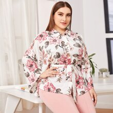 Plus Button Front Floral Print Belted Blouse