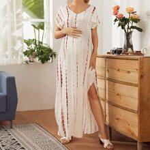 Maternity Kleid mit Schlitz und Batik